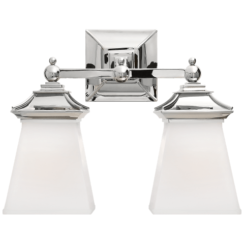 Chinoiserie Double Light in Polished Nickel with White Glass