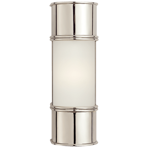 "Oxford 12"" Bath Sconce in Polished Nickel with Frosted Glass"