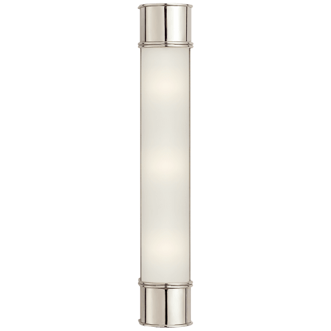 "Oxford 24"" Bath Sconce in Polished Nickel with Frosted Glass"
