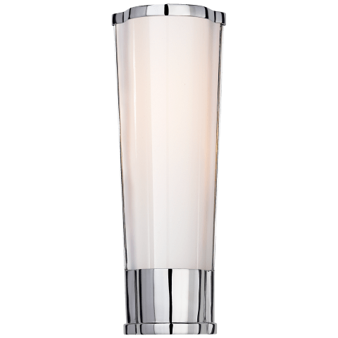 Carew Small Sconce in Polished Nickel with White Glass