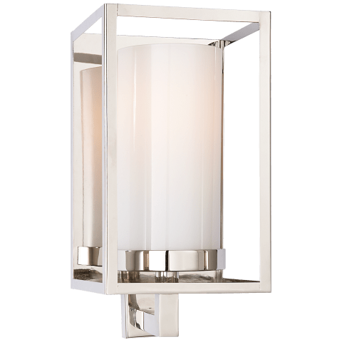 Easterly Sconce in Polished Nickel with White Glass