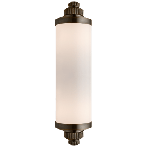 Ruhlmann Linear Bath Sconce in Bronze with White Glass