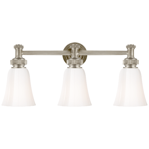Ruhlmann Triple Bath Sconce in Antique Nickel with White Glass