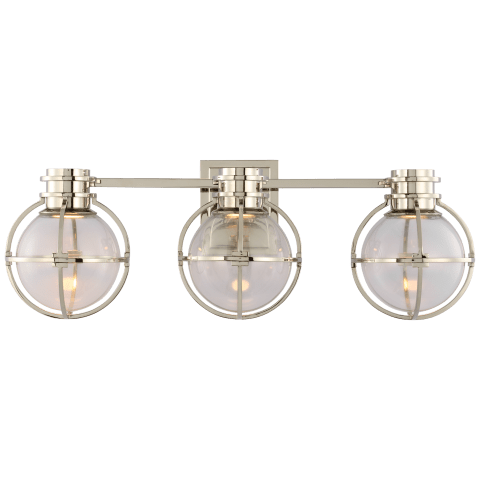 Gracie Triple Sconce in Polished Nickel with Clear Glass