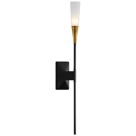 Stellar Single Tail Sconce in Matte Black and Antique Brass with Frosted Acrylic