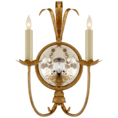 Gramercy Double Sconce in Gilded Iron
