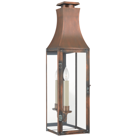 Charlestown Medium 3/4 Wall Lantern in Natural Copper with Clear Glass
