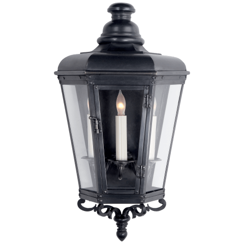Menzel Small 3/4 Wall Lantern in Blackened Copper with Clear Glass