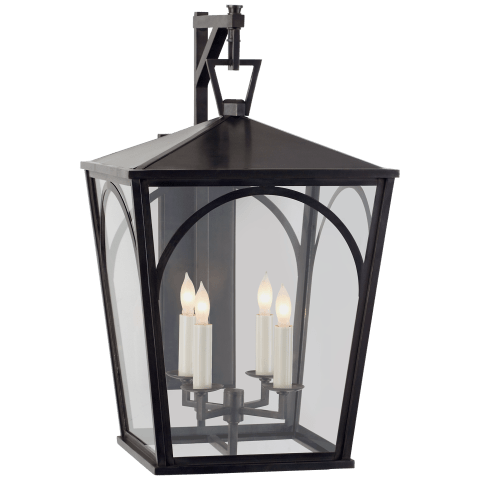 Darlana Arc Small Wall Bracket Lantern in Bronze with Clear Glass
