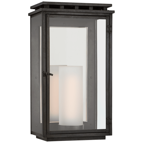 Cheshire Medium 3/4 Wall Lantern in Aged Iron with Clear Glass