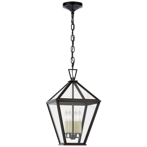 Classic Darlana Medium Hanging Lantern in Bronze with Clear Glass