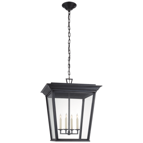 Cornice Large Lantern in Blackened Copper with Clear Glass