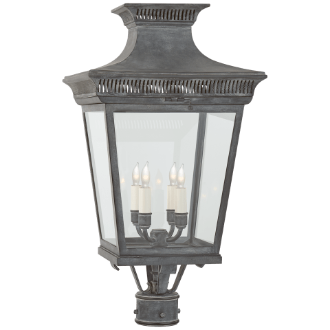 Elsinore Medium Post Lantern in Weathered Zinc with Clear Glass