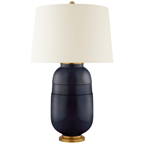 Newcomb Medium Table Lamp in Mixed Blue Brown with Natural Percale Shade