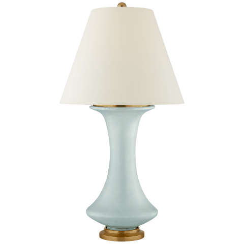 Nota Medium Table Lamp in Matte Sky Blue with Natural Percale Shade