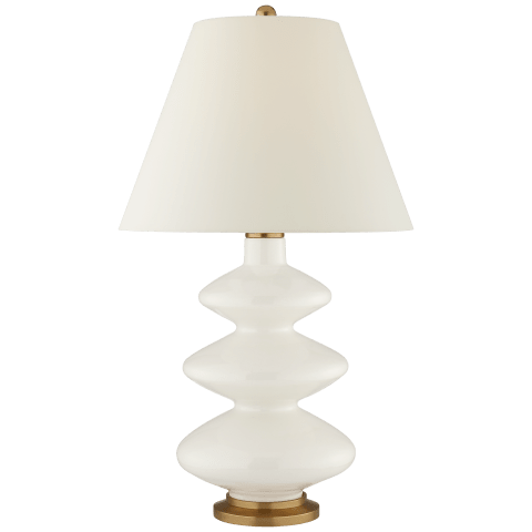 Smith Large Table Lamp in Mixed Blue Brown with Natural Percale Shade