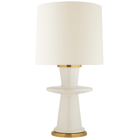 Varney Medium Table Lamp in Ivory with Linen Shade