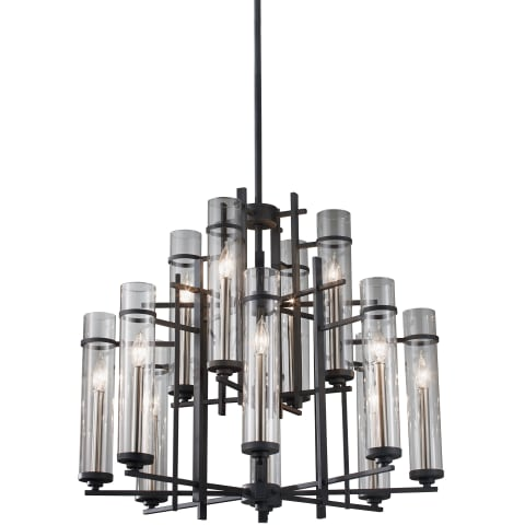 Ethan 12 - Light Multi-Tier Chandelier Antique Forged Iron / Brushed Steel