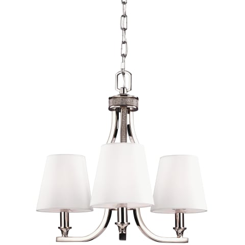 Pave 3 - Light Crystal Inlay Chandelier  Polished Nickel