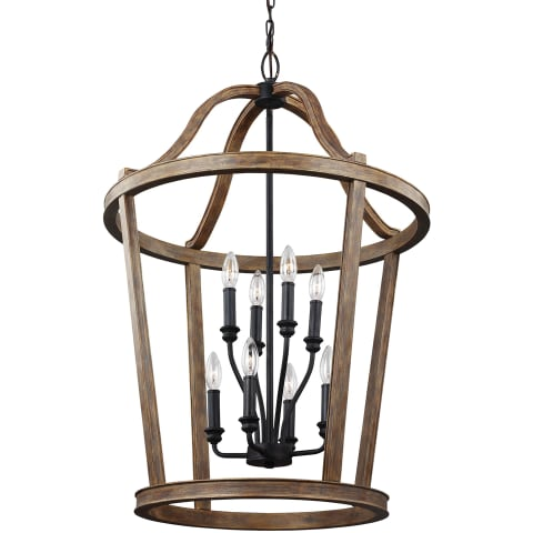 Lorenz 8 - Light Two Tier Chandelier Weathered Oak Wood
