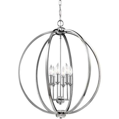 Corinne 6 - Light Globe Pendant Polished Nickel