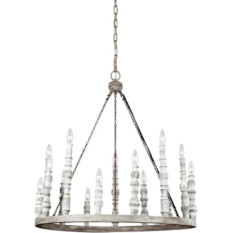 Norridge Medium Chandelier Distressed Fence Board / Distressed White