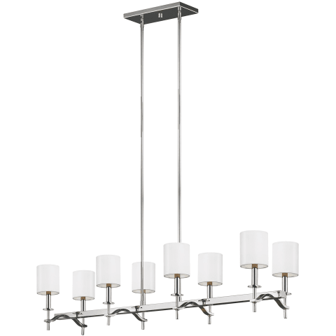 Hewitt 8 - Light Linear Chandelier Polished Nickel