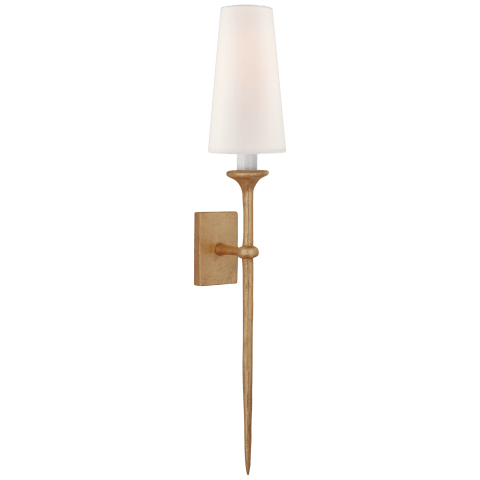 Iberia Single Sconce in Gild with Linen Shade