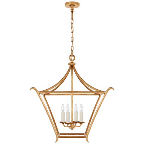 Aria Medium Square Lantern in Antique Gold Leaf