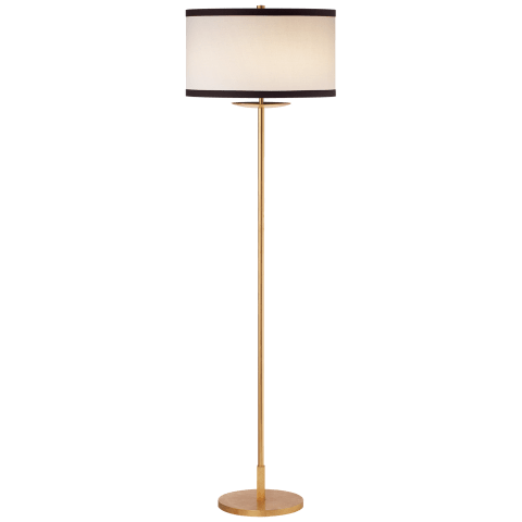Walker Medium Floor Lamp in Gild with Cream Linen Shade with Black Linen Trim