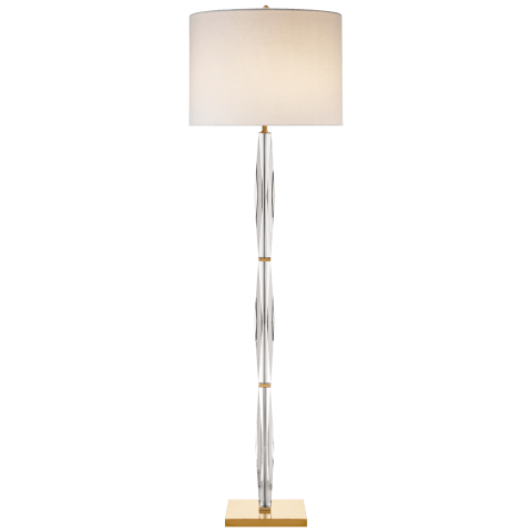 Castle Peak Narrow Floor Lamp in Crystal with Cream Linen Shade