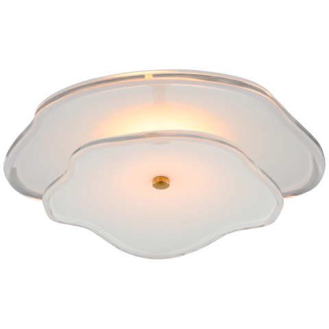 """Leighton 14"""" Layered Flush Mount in Soft Brass with Cream Tinted Glass"""
