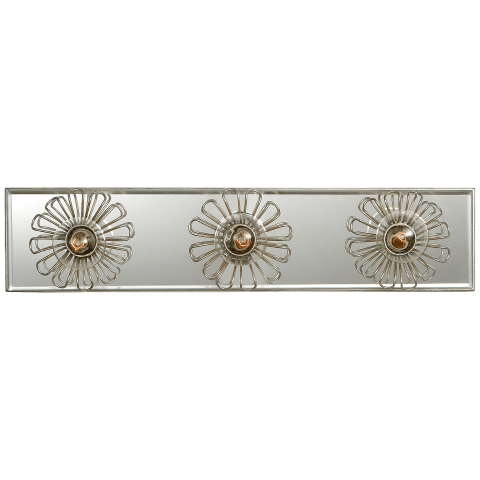 "Keaton 18"" Floral Vanity Light in Burnished Silver Leaf and Mirror"
