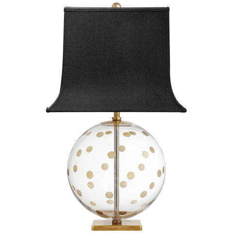 Pavillion Dot Globe Table Lamp in Clear Glass with Black Linen Shade with Gold