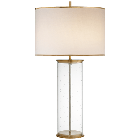 Larabee Dot Table Lamp in Clear Glass and Soft Brass with Cream Linen Shade