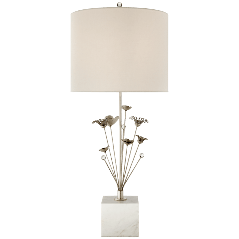 Keaton Bouquet Table Lamp in Burnished Silver Leaf and White Marble with Cream Linen Shade