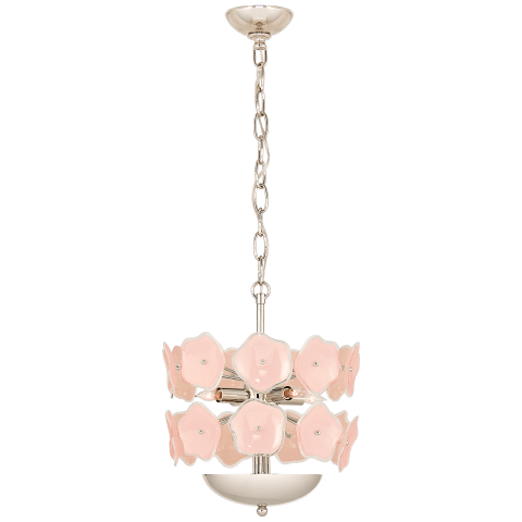 Leighton Small Chandelier in Polished Nickel with Blush Tinted Glass