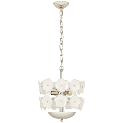 Leighton Small Chandelier in Polished Nickel with Cream Tinted Glass