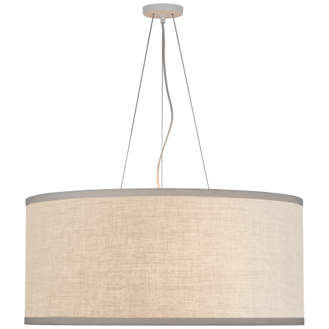 Walker Large Hanging Shade in Light Cream with Natural Linen Shade