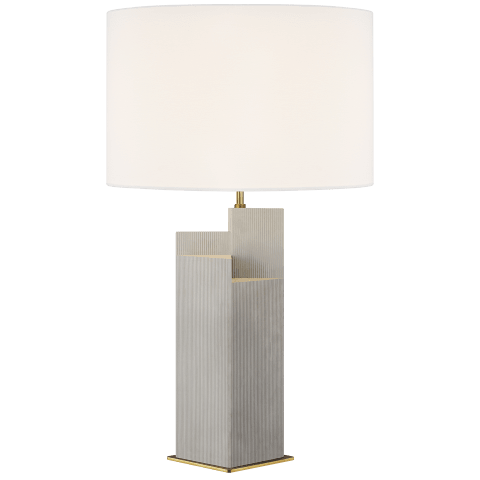 Portman Table Lamp Natural Concrete with Burnished Brass Bulbs Inc