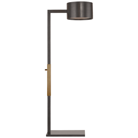 Larchmont Floor Lamp in Bronze and Antique-Burnished Brass with Frosted Glass