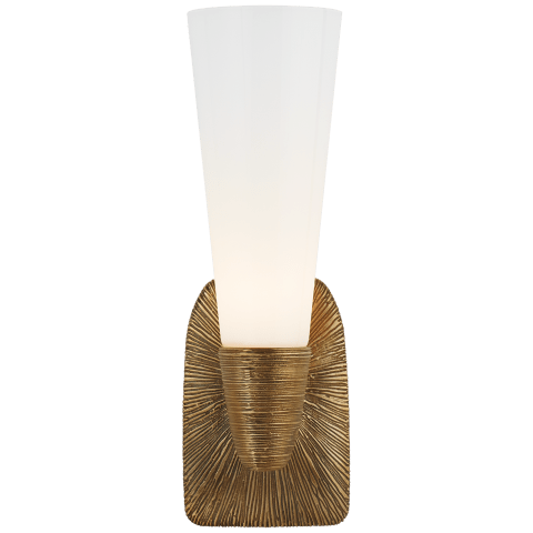 Utopia Small Single Bath Sconce in Gild with White Glass