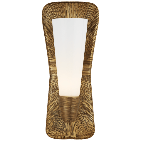Utopia Large Single Bath Sconce in Gild with White Glass
