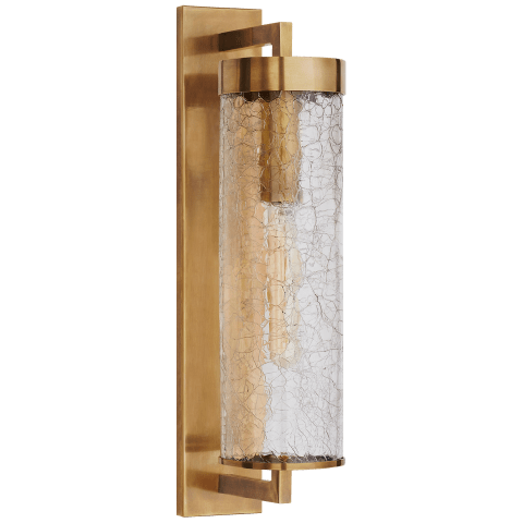 Liaison Large Bracketed Wall Sconce in Antique Burnished Brass with Crackle Glass