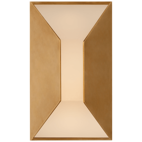 Stretto Small Sconce in Antique-Burnished Brass with Frosted Glass