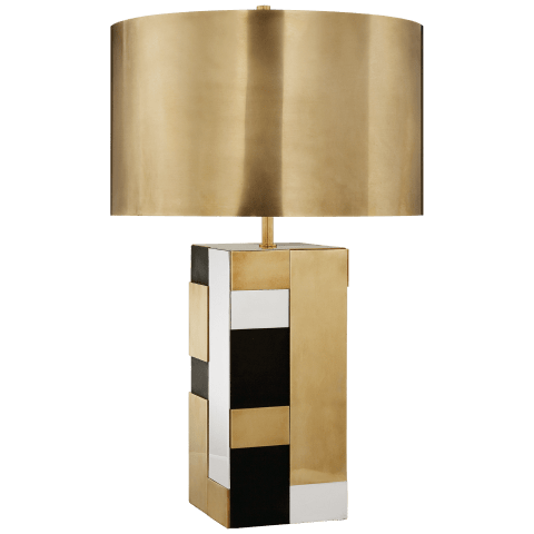 Bloque Table Lamp in Mixed Brass, Bronze, and Polished Nickel with Antique-Burnished Brass Shade