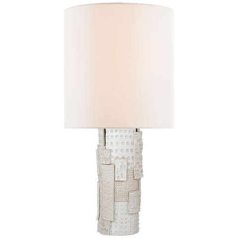 Pastiche Large Table Lamp in Ivory with Linen Shade