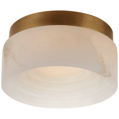 "Otto 5"" Solitaire Flush Mount in Antique-Burnished Brass with Alabaster"