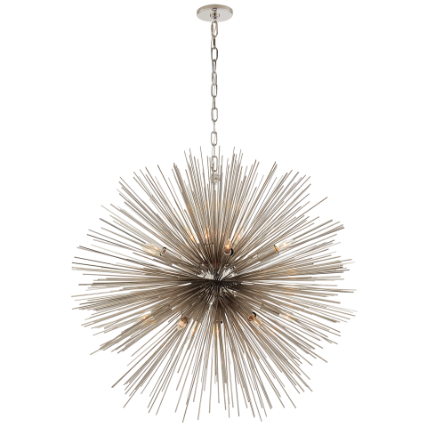 Strada Large Round Chandelier in Polished Nickel