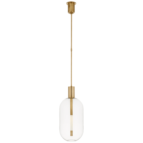 Nye Tall Pendant in Antique-Burnished Brass with Clear Glass